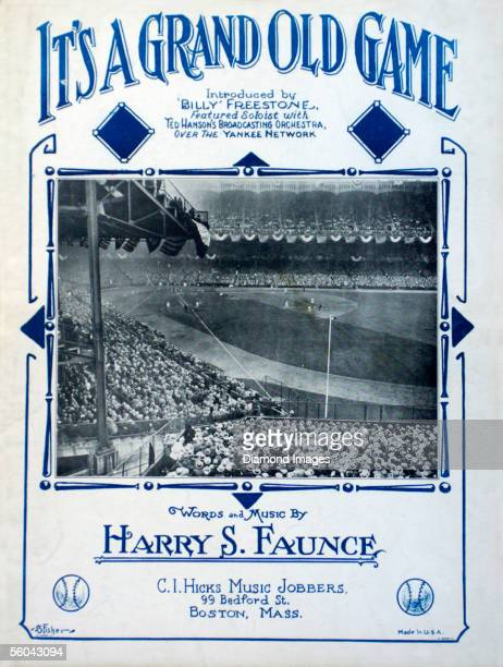 "Front cover from sheet music for the tune, ""It's a Grand Old Game"", which shows a scene from a World Series game between the New York Giants and the..."