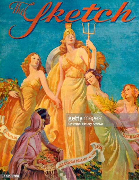 Front cover from The Sketch magazine special coronation number published 1937 Depicting Britannia surrounded by the female personifications of...