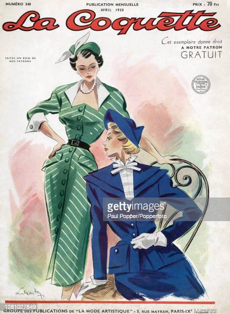 Front cover illustration taken from French fashion magazine La Coquette, showing a dress and a tailored suit, the fitted green button-through dress...