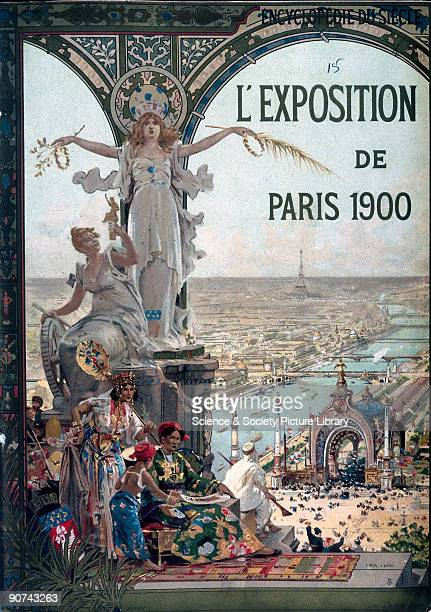 Front cover in the Art Nouveau style showing an exotic woman and her entourage looking out onto a cityscape of Paris The 'Exposition Universelle et...