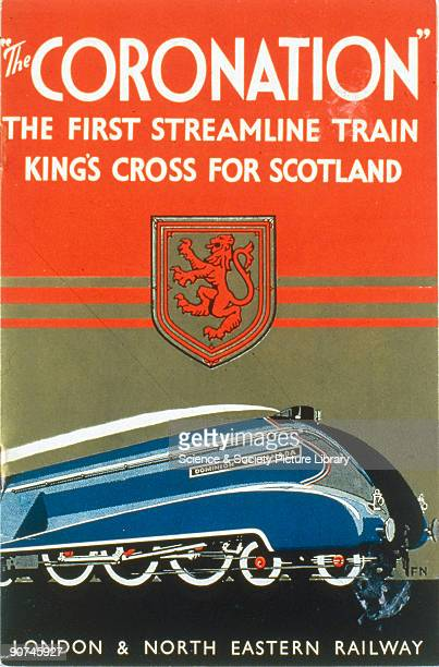 Front cover of a brochure produced for the London North Eastern Railway promoting the 'Coronation' shown here hauled by the A4 steam locomotive...