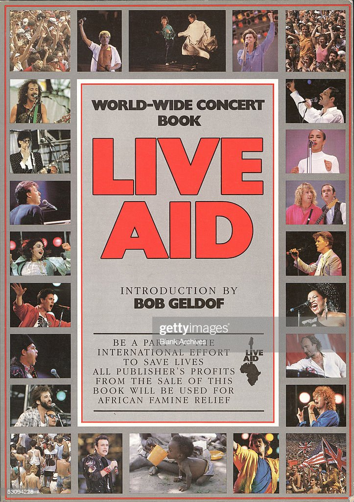 Front cover of the book from the simultaneous Live Aid concerts, at JFK Stadium in Philadelphia, Pennsylvania, and Wembley Stadium in London, England, which was originally published in late 1985. The book and concerts, held on July 13, 1985, were designed to raise awareness and funds for a worldwide hunger relief program. The book cover features photographs of some of the performers.