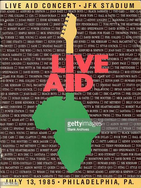 Front cover of the program from the Live Aid concert at JFK Stadium in Philadelphia, Pennsylvania, July 13, 1985. The concert, and a simultaneous one...