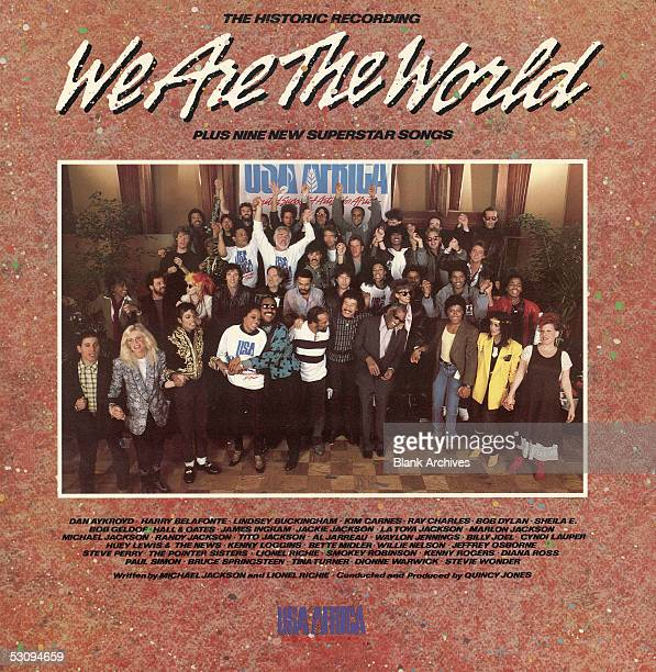 Front cover of the 'USA for Africa We are the World' record album the music on which was designed to raise awareness and funds for a worldwide hunger...