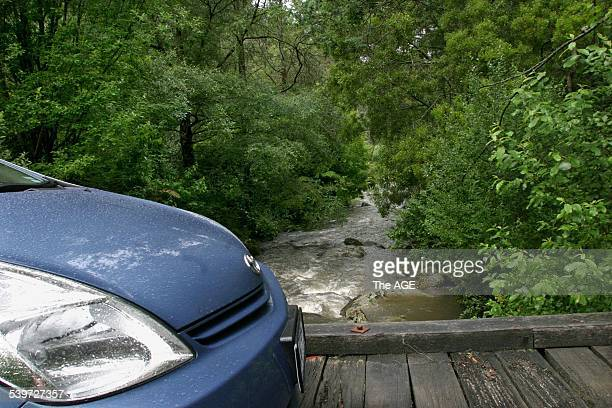Front detail of a Toyota Prius petrolelectric hybid on a wooden bridge TarraBulga National Park Tarra Valley 10 December 2004 The AGE Picture by GARY...