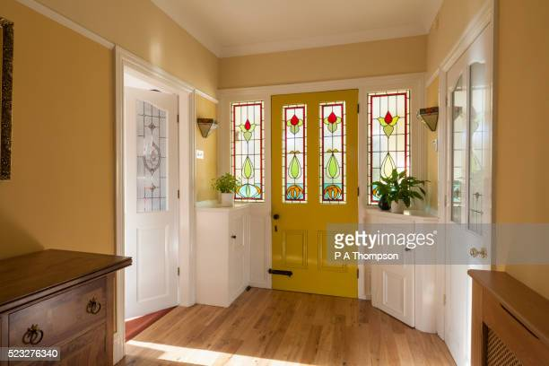 front door and hallway of domestic house - stained glass stock pictures, royalty-free photos & images