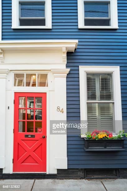 Front Door and Windows in historic Charlestown Boston Massachusetts USA