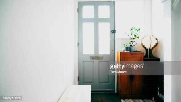 front door of house - grey colour stock pictures, royalty-free photos & images