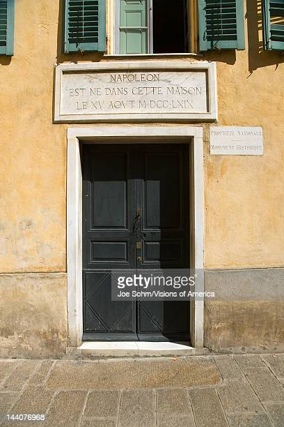 Front door of Napoleon Bonaparte's birthplace on the Mediterranean Sea Corsica France Europe