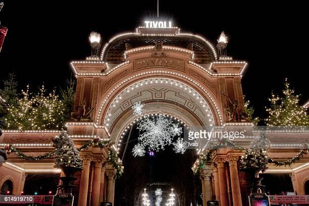 Front Door of Tivoli Gardens at Night, Denmark, Copenhagen