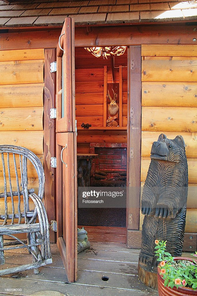 Front Door To Log Cabin Stock Photo | Getty Images