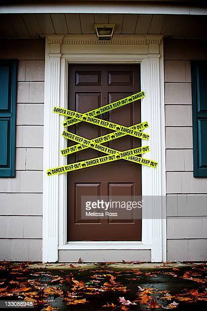 Front door with caution tape