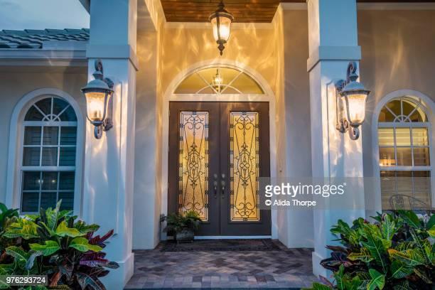 Front Door with Lights