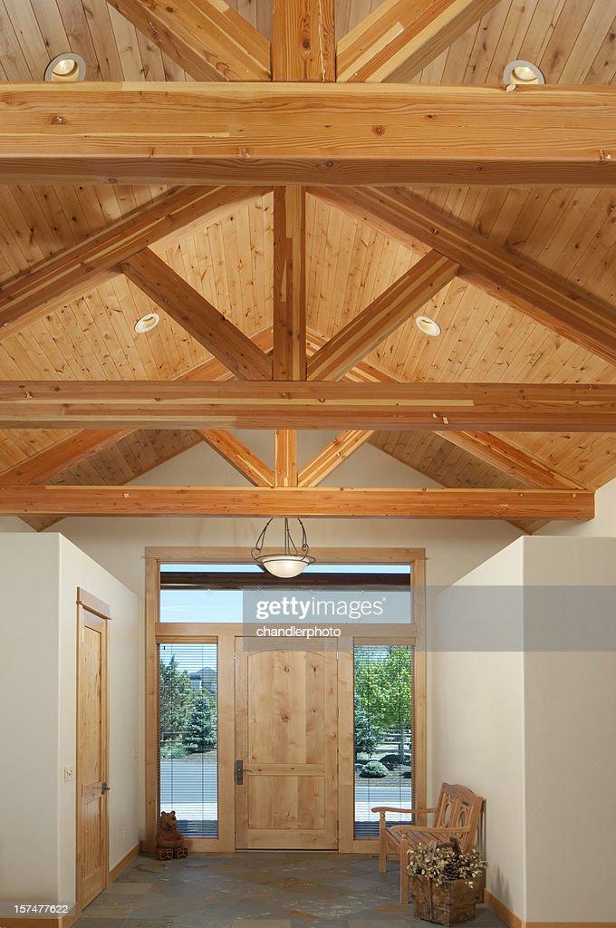 Front Door With Wood Beam Trusses