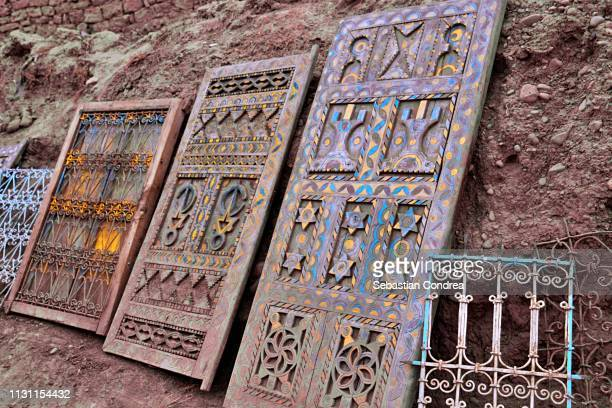 Front doors in the souk market of Skoura city of Morocco,Africa