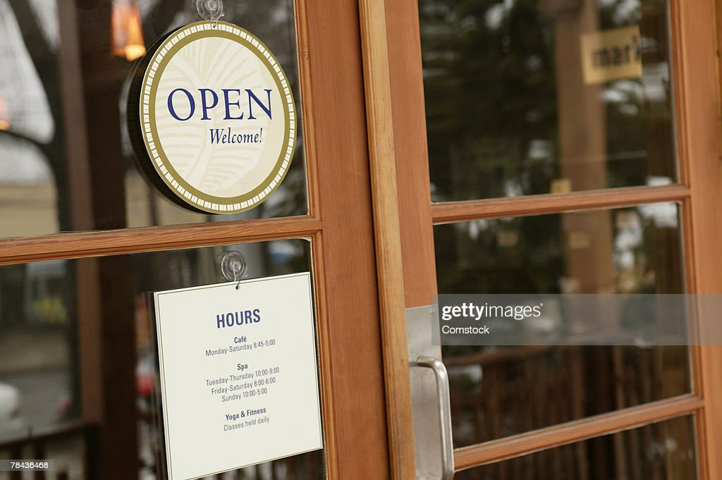 Front doors to small business : Stockfoto