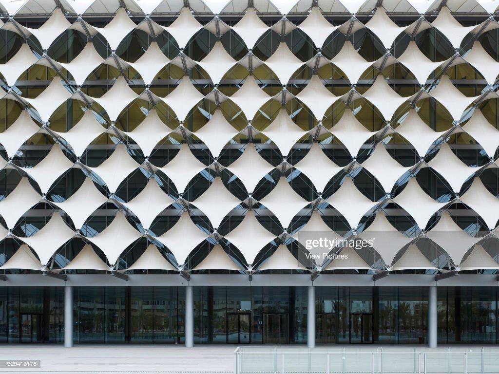 Front Elevation Of Filigree Textile Facade King Fahad National Library Riyadh Saudi Arabia