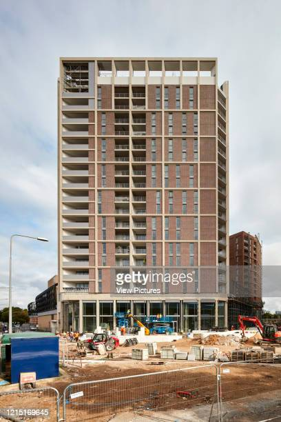Front elevation of housing blocks and construction site Canning Town London United Kingdom Architect N/A 2017