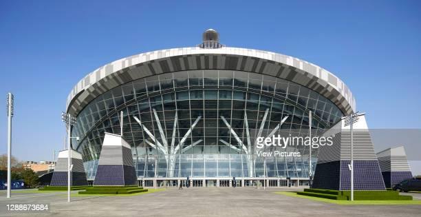 Front elevation of main entrance. The New Tottenham Hotspur Stadium, London, United Kingdom. Architect: Populous, 2019.