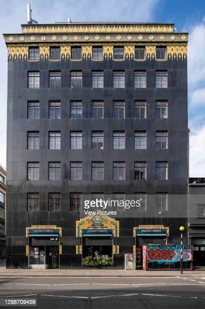 Front elevation of Palladium House. Palladium House, London, United Kingdom. Architect: Raymond Hood, Gordon Jeeves, 1928.