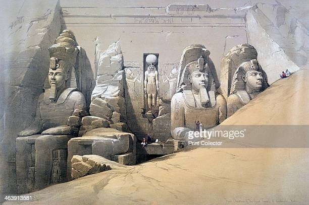 'Front Elevation of the Great Temple of Abu Simbel Nubia' 19th century Plate 44 from volume II of 'Egypt and Nubia' engraved by Louis Haghe Found in...