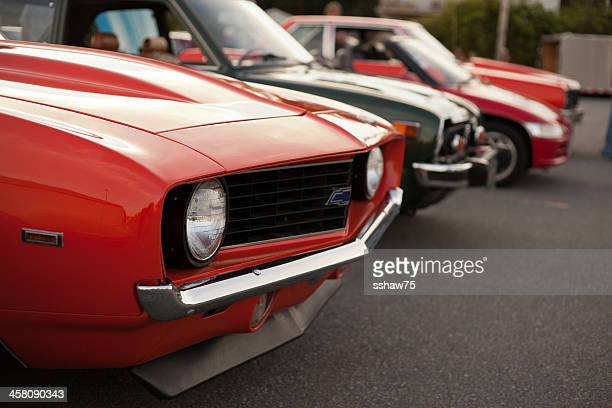 front end of a 1969 chevrolet camaro - camaro stock photos and pictures