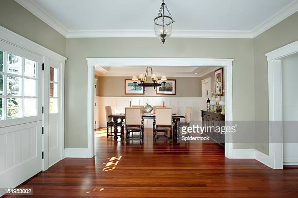 front entrance and dining room - wainscoting stock photos and pictures