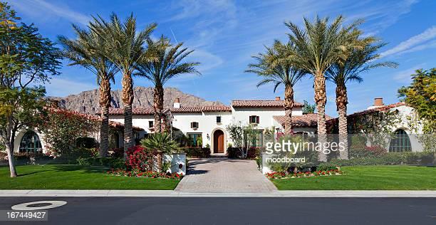 Front entrance facade of luxury villa