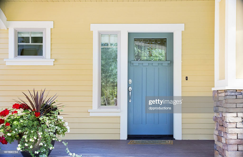 Latest Wooden Front Door Front entrance of a home with blue door Idea - Luxury front door colors for yellow house Review