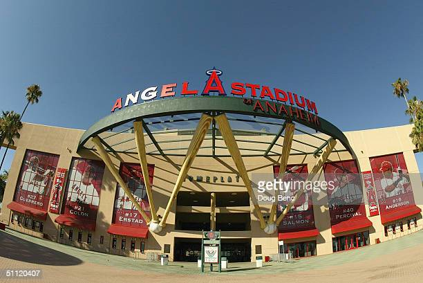 Front entrance of Angel Stadium of Anaheim before the game between the Anaheim Angeles and the Boston Red Sox on July 17 2004 in Anaheim California...