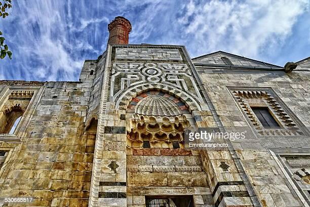 front entrance of isa bey mosque - emreturanphoto bildbanksfoton och bilder