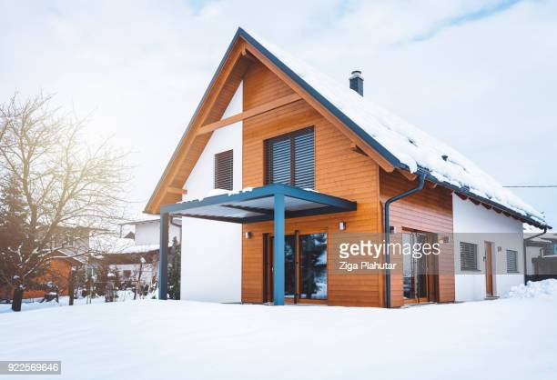 front entrance of modern home - winter house stock pictures, royalty-free photos & images