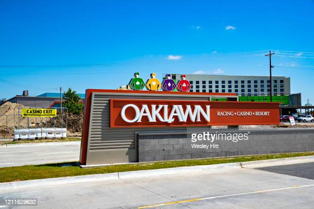 Front entrance to Oaklawn Racing Casino Resort with new hotel under construction on May 2 2020 in Hot Springs Arkansas