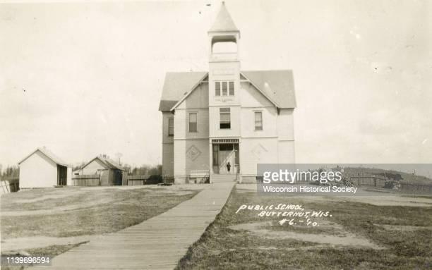 Front entrance to the public school in Butternut Butternut Wisconsin 1910