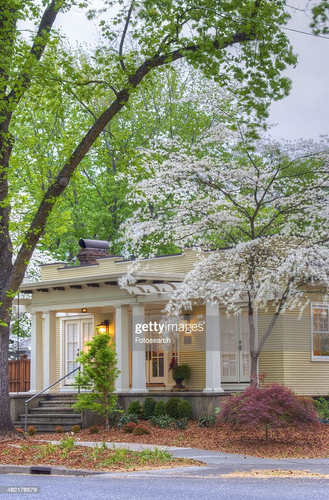 Front Exterior California Bungalow And Landscaping Stock Photo