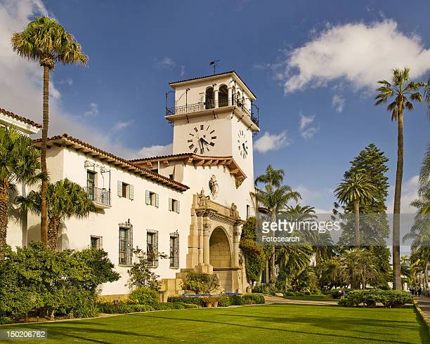 front exterior santa barbara courthouse - santa barbara county courthouse stock pictures, royalty-free photos & images