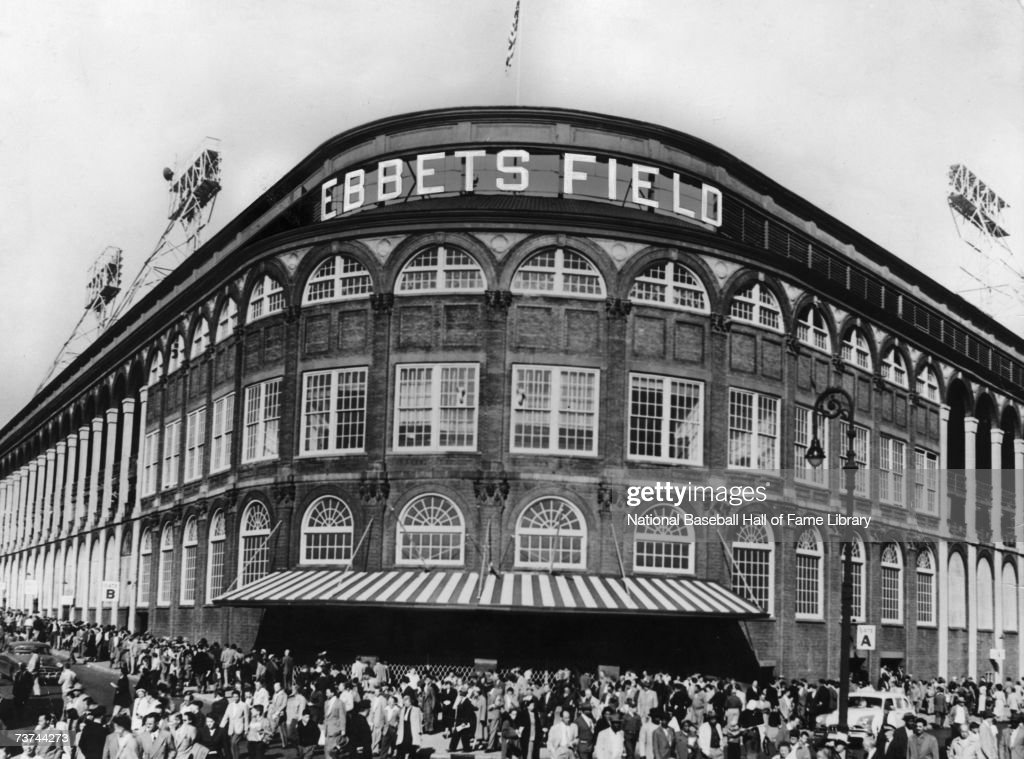 A Front exterior view of Ebbets Field in Brooklyn, New York. Home of the Brooklyn Dodgers.