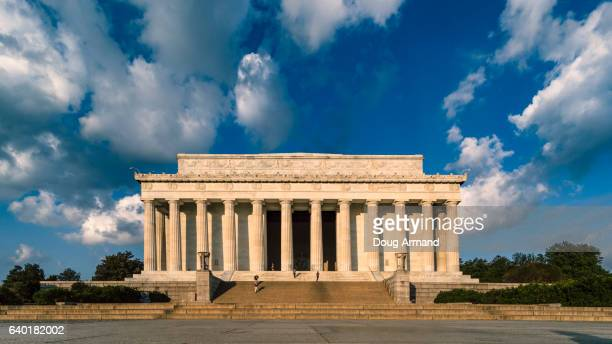 front facade of lincoln memorial, washington dc, usa - lincoln memorial stock pictures, royalty-free photos & images