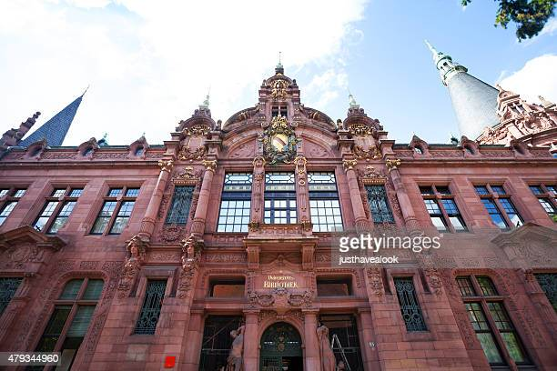 front facade of old university library heidelberg - heidelberg stock photos and pictures