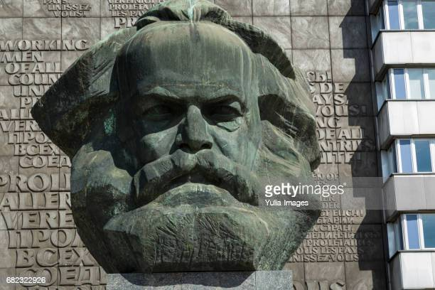 front facade of the karl marx monument, chemnitz - chemnitz stock pictures, royalty-free photos & images
