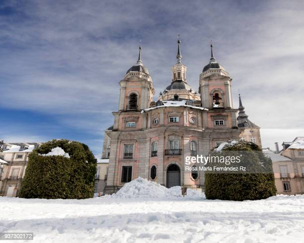 Front facade of The Royal Palace of La Granja de San Ildefonso after a day of snowfall, San Ildefonso, Segovia, Castilla y León, Spain, Europe.