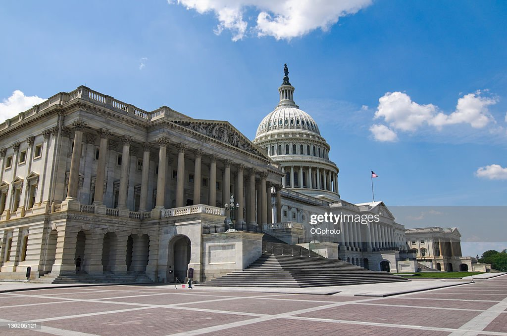 Front facade of the United States Capitol Building : Stock Photo