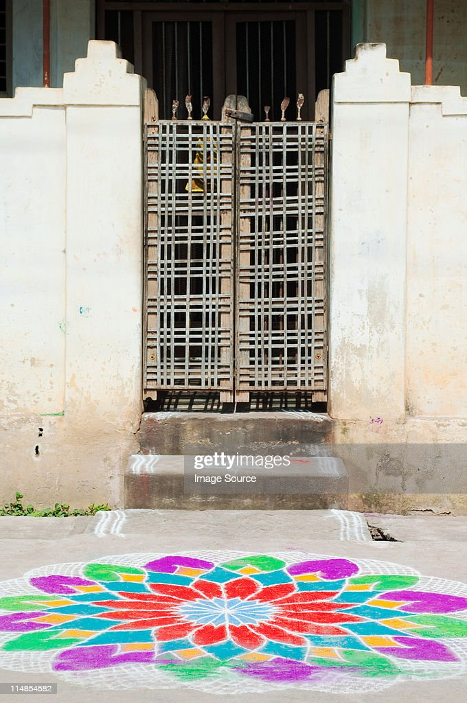 Front gate and colourful chalk flower on street, Trichy, Tamil Nadu : Stock Photo