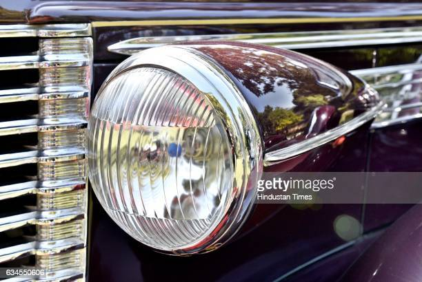 Front headlight of Buik Convertible of 1938 model with 4500 CC during the media preview for upcoming 21 Gun Salute Vintage Car rally on February 10...