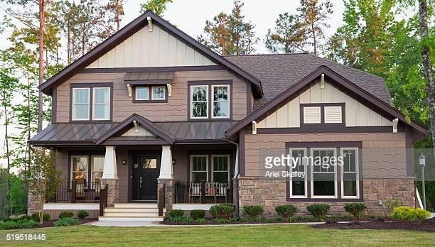 front lawn of suburban house - ポーチ ストックフォトと画像