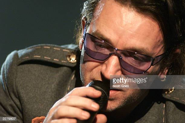 Front man Bono and band U2 rehearses during Grammy Week 2001 at The Staples Center Los Angeles CA Feb 20 2001