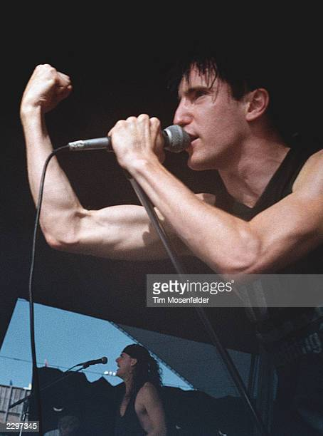 Front man Trent Reznor of Nine Inch Nails performing at Shoreline Amphitheater in Mountain View Calif on July 26th 1991 Pretty Hate Machine Tour/...