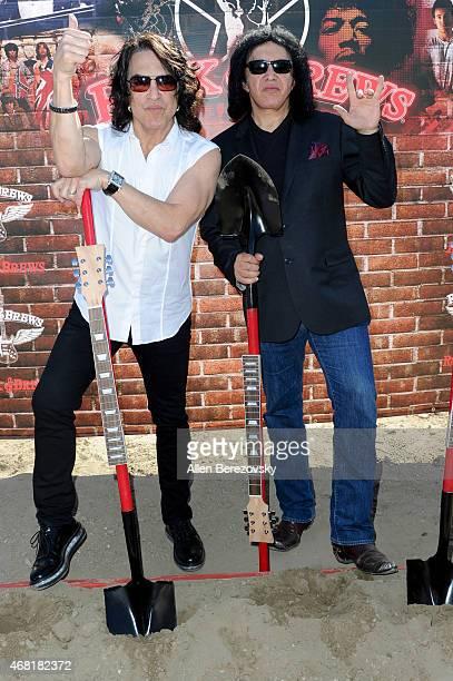KISS front Men Gene Simmons and Paul Stanley host Rock Brews Buena Park California Restaurant Groundbreaking on March 30 2015 in Buena Park California