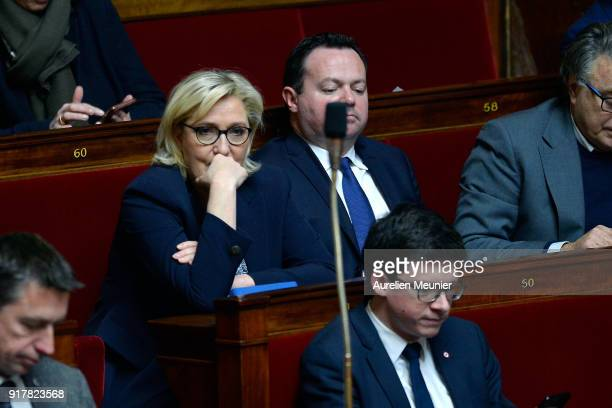 Front National President Marine Le Pen reacts as Ministers answer deputies questions during the weekly session of questions to the government at...
