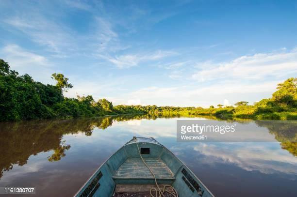 front of a boat on a river, pantanal, brazil - pantanal stockfoto's en -beelden